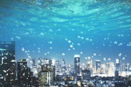 modern underwater night city with bubbles instead of sky. 3d rendering Reklamní fotografie - 104994397