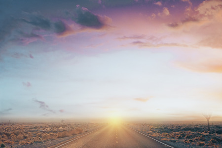 front view on desert sunset road with light sky and colorful clouds. 3d rendering