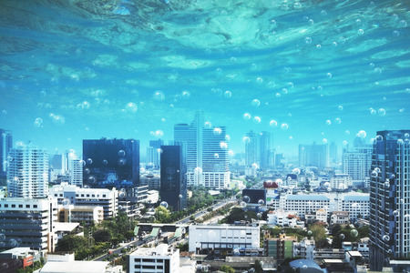 modern underwater night city with bubbles instead of sky. 3d rendering