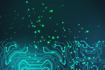 abstract technology board circuit and dots background. 3d rendering