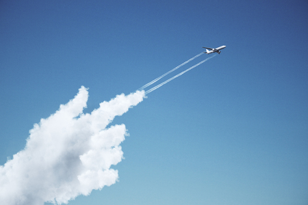 take-off plane from forefinger of cloud hand at blue sky background. 3d rendering