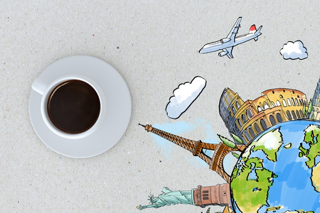 travel concept with espresso coffee cup and drawn globe with famous city sights around. 3d rendering