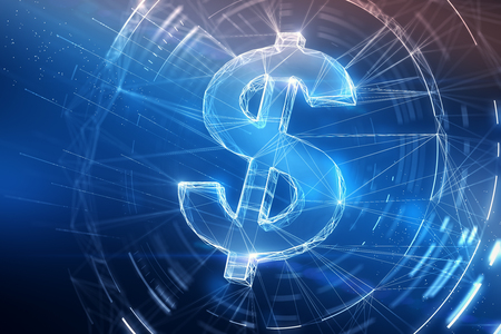 digital dollar sign at abstract blue background. 3d rendering