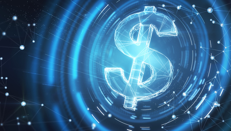 digital dollar sign at abstract cyberspace blue background. 3d rendering