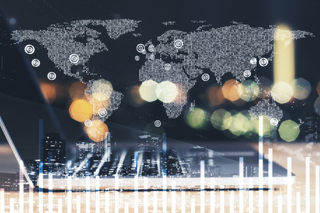 double exposure with laptop at blured background and digital financial chart with world map illustration. 3d rendering