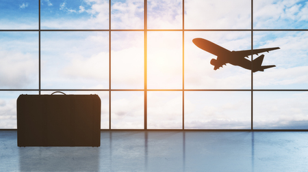 airport hall window floor-to-ceiling with take off aircraft behind it and luggage on the floor. 3d rendering Фото со стока