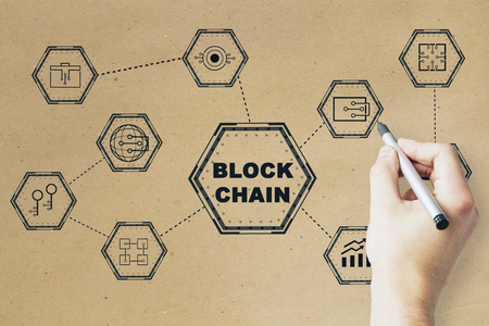 blockchain network concept, distributed ledger technology, block chain text with man hand with pencil at beige background
