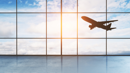 airport hall window floor-to-ceiling with take off aircraft behind it. 3d rendering Reklamní fotografie