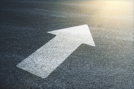 white arrow on traffic surface. 3d rendering