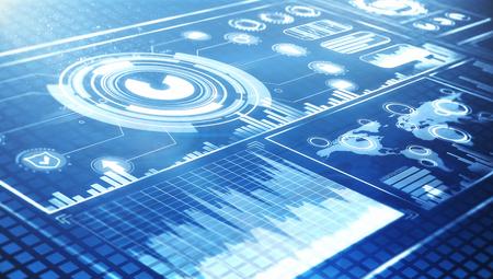 futuristische gebruikersinterface HUD en infographic elementen op blauwe achtergrond
