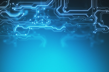 circuito della scheda di tecnologia astratta e punti su sfondo blu. Rendering 3D