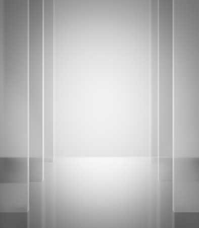 abstract corridor with transparent walls in grey shades background