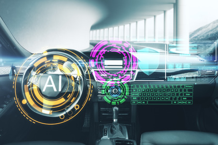 Abstract car interior with glowing AI interface. Artificial intelligence and vehicle concept. 3D Rendering