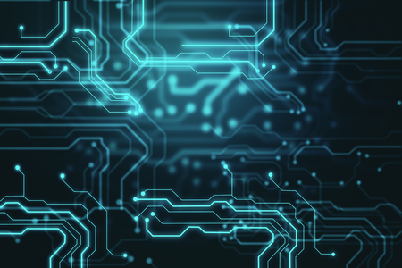 Creative glowing blurry circuit background. Technology and computing concept. 3D Rendering Stock Photo