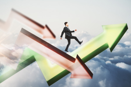 Side view of young businessman following upward green arrow on sky background. Success and growth concept. Double exposure Stock Photo