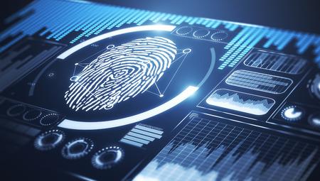 Interfaz de negocio digital con huella dactilar. Concepto de protección y hud. Representación 3D