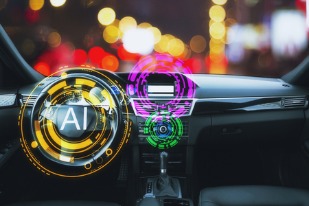 Abstract car interior with glowing AI interface. Artificial intelligence and tech concept. 3D Rendering
