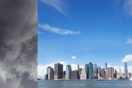 change in the weather from stormy clouds to blue sky above megapolis city on water. 3d rendering