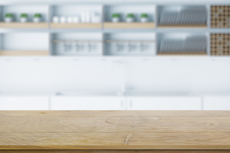 Empty wooden table on blurry kitchen background. 3D Rendering Reklamní fotografie - 108184591