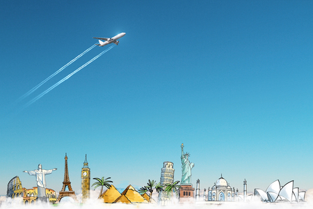Creative travel sketch on sky background with airplane. Tourism and trip concept