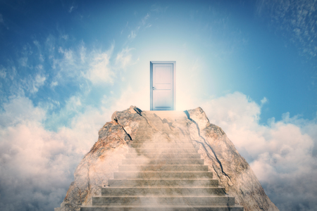 Abstract mountain with door on sky background. Promotion and career concept Stockfoto
