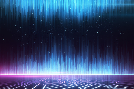 Glowing blue digital rays wallpaper. Design concept. 3D Rendering 写真素材