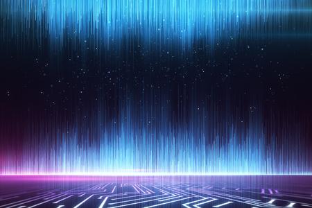 Sfondo di raggi digitali blu incandescente. Idea di design. Rendering 3D
