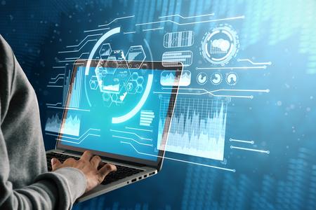 Männliche Hand unter Verwendung des Laptops mit digitaler Geschäftsschnittstelle. Zukunft und ai Konzept. 3D-Rendering