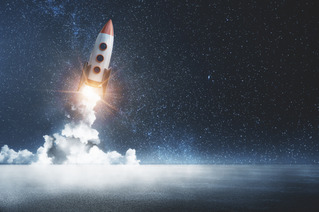 Creative launching rocket in starry dark sky. Startup and exploration concept. 3D Rendering Banco de Imagens
