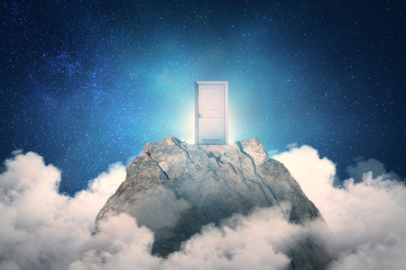 Abstract mountain with door on sky background. Promotion and future concept
