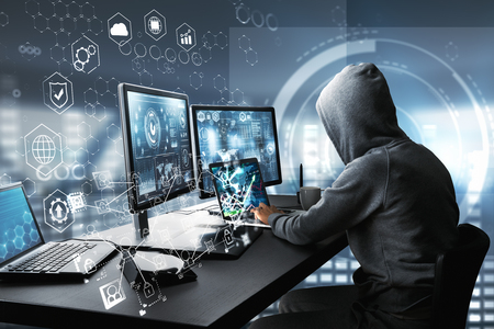 Side view of hacker using computer with digital interface while sitting at desk of blurry interior. Hacking and information concept. 3D Rendering