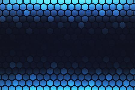 Creative digital blue hexagonal wallpaper. Technology concept. 3D Rendering