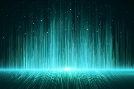 Fond de rayons numériques vert brillant. Concept design. Rendu 3D