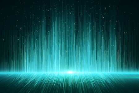 Fondo verde brillante de rayos digitales. Concepto de diseño. Representación 3D