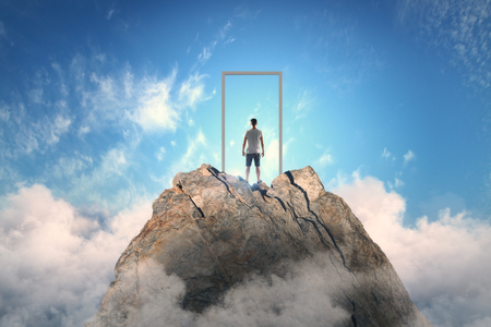 Businessman standing on abstract mountain with door on sky background. Promotion and success concept
