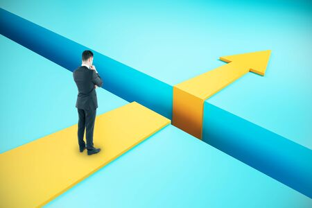 Businessman overcoming gap with financial arrow. Challenge and success concept. 3D Rendering Banco de Imagens - 134738896