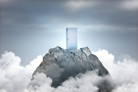 Abstract mountain with door on sky background. Promotion and growth concept Stockfoto