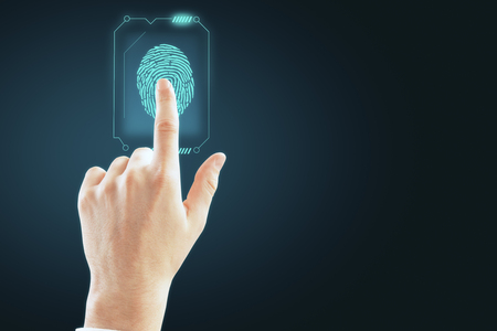 Hand with finger print scan. Access, technology and hud concept