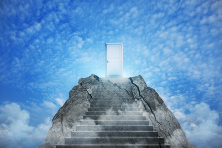 Abstract mountain with door on sky background. Promotion and success concept
