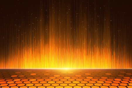 Creative digital orange hexagonal background. Technology concept. 3D Rendering