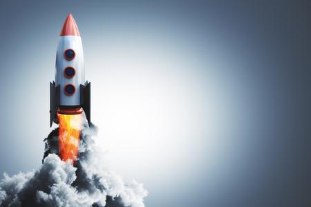 Lancering van raket op grijze achtergrond. Opstarten en beginnen met concept. 3D-weergave