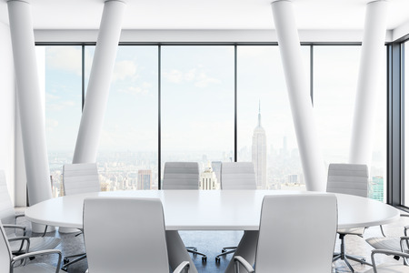 Light conference room interior with furniture and panoramic New York city view. 3D Rendering Zdjęcie Seryjne