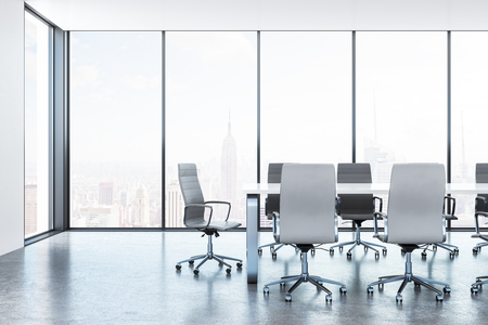 New conference room interior with furniture and panoramic New York city view. 3D Rendering Zdjęcie Seryjne - 106747108