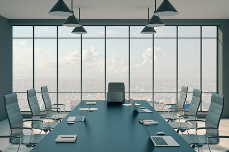 Modern conference room interior with furniture, panoramic city view and sunlight. Presentation concept. 3D Rendering 스톡 콘텐츠