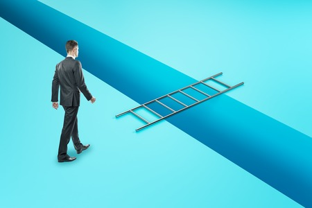Businessman overcoming gap with ladder. Career development and risk concept.