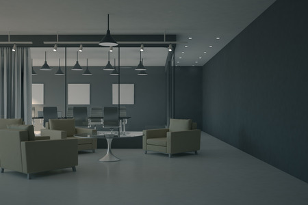 Clean office lobby interior with furniture and waiting area. Workplace design concept. 3D Rendering Banco de Imagens