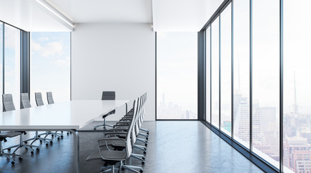 Luxury conference room interior with furniture and panoramic New York city view. 3D Rendering Zdjęcie Seryjne