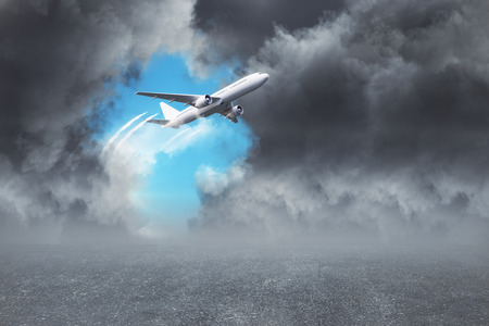 Airplane on dull cloudy sky background. Transport and travel concept