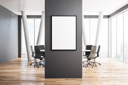 Modern meeting room interior with empty billboard on wall. Mock up, 3D Rendering Banco de Imagens