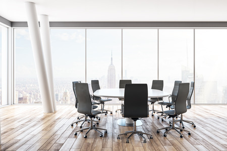 New meeting room interior with furniture and panoramic New York city view. 3D Rendering